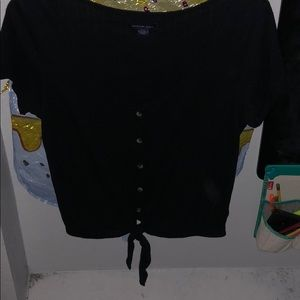 Black AEO blouse, tied with accent buttons